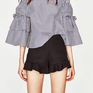 Zara High Waist Frill Hem Shorts